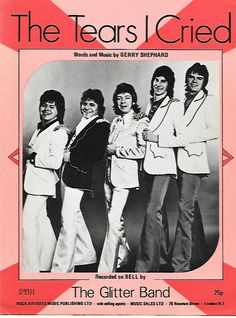 Nice Rare 1970's The Glitter Band The Tears I Cried Sheet Music NM Glam Rock