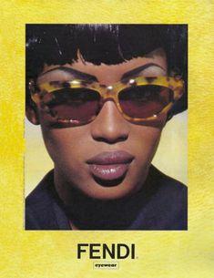 "specsenvogue: "" Naomi Campbell by Karl Lagerfeld for Fendi Eyewear 1992 "" Mode Collage, Fendi Eyewear, Fashion Eyewear, Photo Polaroid, Mode Poster, Photo Wall Collage, Retro Aesthetic, Mellow Yellow, Aesthetic Pictures"