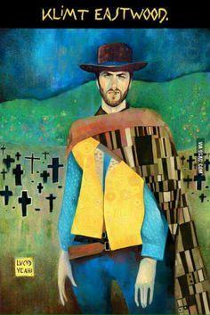 Klimt Eastwood via lucyd-yeah Klimt Eastwood Clint Eastwood Gustav Klimt Gustav Klimt, Memes Arte, Art Memes, Art Pop, Humor Grafico, Illustrations, Clint Eastwood, Funny Art, Oeuvre D'art