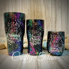 """Beautiful galaxy tumbler with the ACOTAR saying """"To the stars who listen and the dreams that are answered"""". Also included is one personalized decal of your choice (i. your name, initials, image, or monogram. Additional decals can be purchased via Diy Tumblers, Personalized Tumblers, Custom Tumblers, Glitter Tumblers, Tumbler Quotes, Guitar Drawing, Cute Cups, Tumbler Designs, Tumbler Cups"""