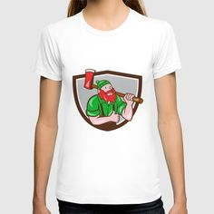 Paul Bunyan Lumberjack Axe Thumbs Up Crest Cartoon T-shirt. Illustration of a Paul Bunyan an American lumberjack sawyer forest carrying axe on shoulder thumbs up set inside shield crest on isolated background done in cartoon style.#illustration #PaulBunyanLumberjackAxe