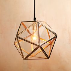 Modern geometric faceted glass pendant light from West Elm Geometric Pendant Light, Geometric Lamp, Glass Pendant Light, Faceted Glass, Glass Pendants, Pendant Lights, Pendant Lamps, West Elm Pendant Light, Dining Pendant