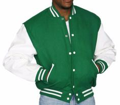 DeLong Kelly Green Leather Wool Varsity Letterman Jacket NWT 2XL $175 Made USA #DeLONG #VarsityBaseball
