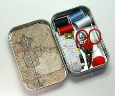Travel - emergency sewing kit. Altoid tin up-cycle. Have a few empty ones sitting around.