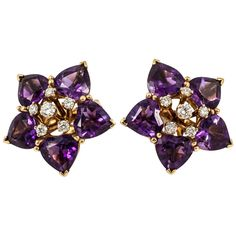Amethyst Diamond Gold Cluster Earrings | From a unique collection of vintage clip-on earrings at https://www.1stdibs.com/jewelry/earrings/clip-on-earrings/