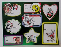 VINTAGE LOONEY TUNES CHRISTMAS GIFT TAGS STICKERS 1 Sheet 8 Tags a   eBay/ 5.90 ttc USA