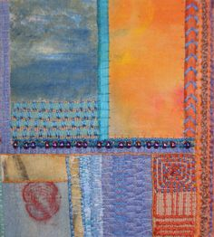 Stitch Sample. Dyed and painted fabric with couched threads by Fi@84 Fiona Rainford