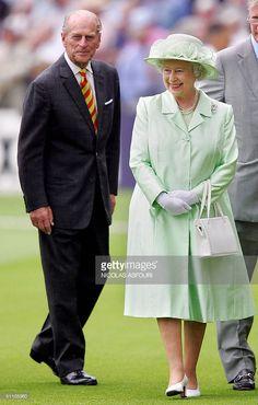 Queen Elizabeth II and the Duke of Edinburgh greet West Indies and England…