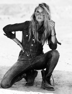 Victoria's Secret Angel Elsa Hosk channels her inner biker chick for the October 2015 cover story from ELLE Sweden. Clad in a sexy mix of denim, leather and white tees, the blonde beauty poses for Jimmy Backius in the outdoor shoot. Posing on motorcycles, Elsa gets styled by Lisa Lindqwister for the sun-drenched images. / …