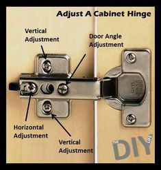 Woodworking Tips Helpful Hints Straighten and align your cabinet doors with this adjustment guide.Woodworking Tips Helpful Hints Straighten and align your cabinet doors with this adjustment guide. Hinges For Cabinets, Cabinet Doors, Cupboards, Do It Yourself Furniture, Diy Furniture, Outdoor Furniture, Refurbishing Furniture, Furniture Storage, Woodworking Plans