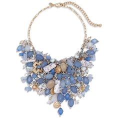 Chico's Sini Bib Necklace ($50) ❤ liked on Polyvore featuring jewelry, necklaces, accessories, blue, artificial jewellery, blue necklace, bead necklace, charm necklace and adjustable necklace
