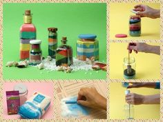 There are so many gorgeous details you can add to your home's decoration; today we'd love to share with you this great idea to recycle bottles and jars. With just some colored sand, you'll transform y Feng Shui, Colored Sand, Triangle, Creations, Diy Projects, Blog, Crafts, Recycle Bottles, Decorated Bottles