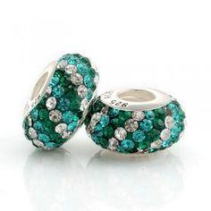 Silver Green Blue White Scroll Bar Crystal Bead