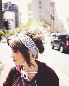 love the messy updo with the retro bandanna <3