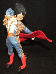 "Vintage 8"" Spanish Matador Bull Fighter Cloth Doll 1950s Nistis Roldan Klumpe"