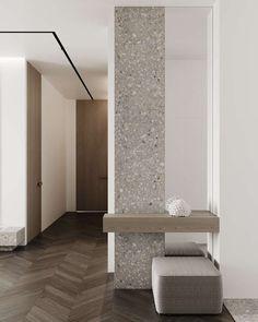 REDSIDE 80 Minimalist Home Interior, Modern Interior Design, Minimalist Design, Interior Columns, Interior Architecture, Granito Dallas, Living Room Designs, Living Room Decor, Flur Design