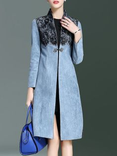 Shop Coats - Blue Polyester Paneled A-line Long Sleeve Coat online. Discover unique designers fashion at StyleWe.com.