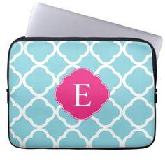 Blue Pink Quatrefoil Monogram Laptop Sleeve