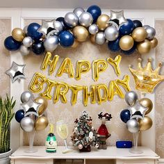 Birthday Party Decorations For Adults, Happy Birthday Banners, Birthday Party Themes, Birthday Decoration For Boy, Happy Birthday Balloons, Gold Birthday, Man Birthday, Champagne Balloons, Deco Ballon