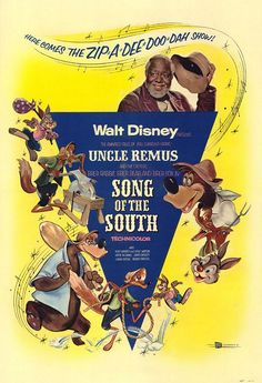 Song of the South 1946.  I saw this at the movies when I was a kid in the late 70's or early 80's.  now it's banned in the us.   Interesting that they still use these characters in Sidney's splash mountain ride.