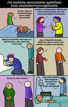 Mielenterveysongelmat vs tavalliset sairaudet