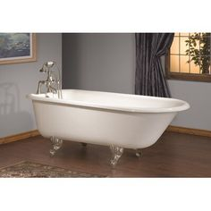 CheviotProducts x Soaking Bathtub with No Faucet Holes Feet Finish: Brushed Nickel, Color: White Interior with Custom Colour Exterior Drop In Bathtub, Clawfoot Bathtub, Freestanding Bathtub, Small Bathtub, Bath Tub, Soaker Tub Free Standing, Traditional Bathtubs, Cast Iron Bathtub, Soaking Bathtubs