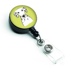 Checkerboard Lime Green Dalmatian Retractable Badge Reel BB1272BR