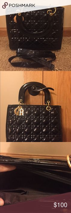 2 Way Small Black Bag Brand new, never used. This is a 2 way beautiful bag. Can be use as handbag or a Cross body. Charms hanging D-I-O-R. Really beautiful bag. Strap of course included. Bags Crossbody Bags