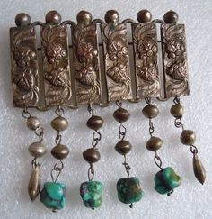 Antique Chinese Export 12 Koi Fish Turquoise Nugget Dangle Large Pin Estate Lot