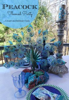 Peacock Themed Party Via Still Blonde after all these Years. #Pier1OutdoorParty #Sponsored #MC http://stillblondeafteralltheseyears.com/2014/06/peacock-themed-party-creating-outdoor-oasis/
