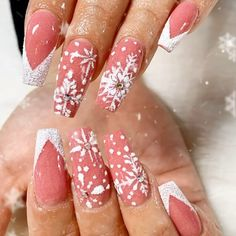 Text or call open late 7 Days a week. Walk-ins Welcome Nails videos Snowflakes nails Cute Acrylic Nail Designs, Winter Nail Designs, Christmas Nail Designs, Best Acrylic Nails, Christmas Gel Nails, Holiday Nails, Snowflake Nails, Nagel Gel, Rhinestone Nails