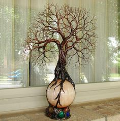 Wire Tree Of Life Ancient Grove Spirits sculpture Harvest Moon Selenite Sphere Gemstones Lamp, original art LP10