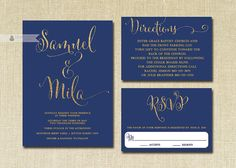 Navy & Gold Glitter Wedding Invitation RSVP by digibuddhaPaperie