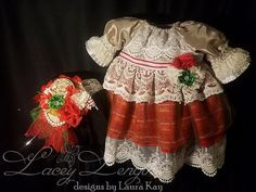 3-6 months Christmas Dress with Headband/Holiday by LaceyLengths