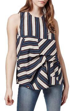 Topshop Asymmetrical Stripe Sleeveless Top