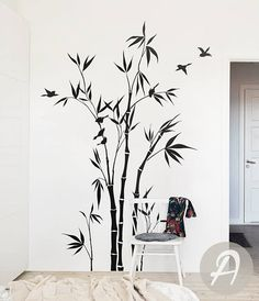 Bamboo Tree Forest Wall Decal Large nursery wall decal Bamboo  sc 1 st  Pinterest & Tree Wall Decal Bamboo Large Tree Sticker Bird Decals Japanese Wall ...