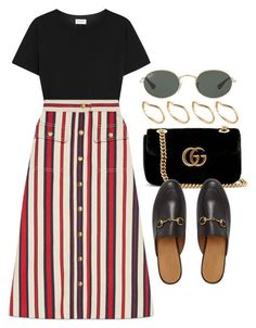 A fashion look from April 2018 featuring tee-shirt, a-line skirts and mule shoes. Browse and shop related looks. Modest Outfits, Modest Fashion, Cool Outfits, Summer Outfits, Casual Outfits, Fashion Outfits, Apostolic Fashion, Fashion Mode, Look Fashion
