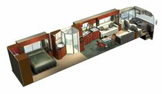 Bench under window instead of one couch, turn bedroom around School Bus Tiny House, Rv Floor Plans, Luxury Motorhomes, Piscina Interior, Converted Bus, Catamaran, E Motor, Luxury Bus, Bus Living