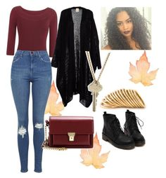 """Fall"" by ludvineabessolo on Polyvore featuring Topshop, Yves Saint Laurent, The Giving Keys and Shaun Leane"