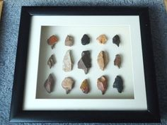 Paleolithic Arrowheads in 3D Frame, Authentic Saharan Artifacts 70,000BC (W019)