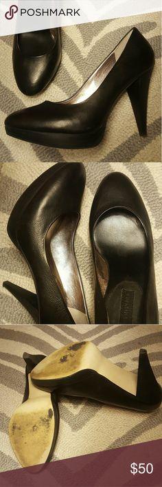 Banana Republic platform heels Sz 7 Black leather  platform heels in good condition Banana Republic Shoes Heels