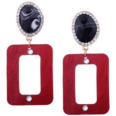 Resin Rhinestone Oval Geometric Earrings Red (€2,85) ❤ liked on Polyvore featuring jewelry, earrings, zaful, rhinestone jewelry, resin earrings, resin jewelry, red earrings and red rhinestone earrings