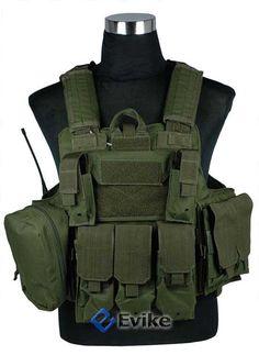 Evike.com Airsoft Guns - Tac. Gear/Apparel | Evike.com Airsoft Guns - Vests & Body Armor | Evike.com Airsoft Guns - USMC C.I.R.A.S. Type Force Recon Tactical Vest (w/ Full Pouch System) -OD Green |