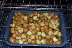 Roasted potatoes with dill and garlic.