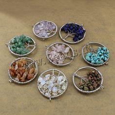 Tree of Life Chakra Gemstone Crystal Stone Chips Reiki Healing Pendant No Chain Pendant Jewelry, Beaded Jewelry, Pendant Necklace, Natural Crystals, Stones And Crystals, Stone Chips, Tree Of Life Pendant, Wholesale Jewelry, Women Jewelry