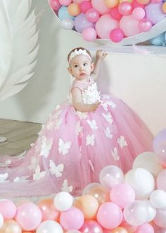 1st Birthday Girl Dress, Baby Birthday Themes, 1st Birthday Parties, Butterfly Wedding, Butterfly Dress, Little Girl Dresses, Flower Girl Dresses, Frocks For Girls, Pink Gowns