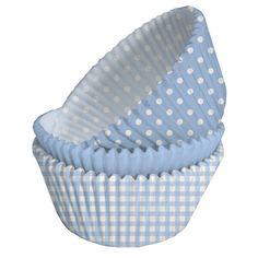 Bag fine muffins til drengens barnedåb med disse lyseblå forme. #muffins #barnedåb #lyseblå