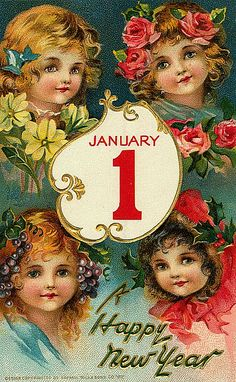 Vintage New Year Postcard by Suzee Que, via Flickr