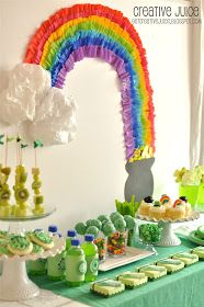 St. Patrick's Day Party decor ideas and food! Love the crepe paper rainbow!