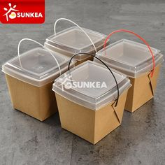 Disposable takeout plastic handle food paper container with dish tray - Buy Disposable Food Container, food paper container, paper container Product on Food Packaging - Shanghai SUNKEA Packaging Co. Takeaway Packaging, Salad Packaging, Sandwich Packaging, Vegetable Packaging, Innovative Packaging, Cake Packaging, Food Packaging Design, Packaging Design Inspiration, Plastic Food Packaging